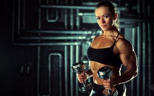 спорт, фитнес, гантели, фон, взгляд, девушка
