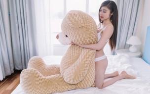 девушки, -unsort , азиатки, модель, девушка, азиатка, плюшевый, мишка, игрушка