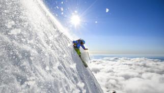 спорт, лыжный спорт, снег, облака, лыжник, солнце, склон