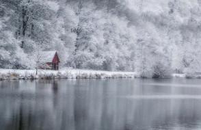 природа, зима, лес, дом, озеро