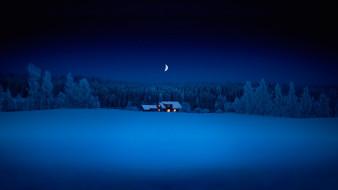 природа, зима, снег, месяц, домик, лес, ночь