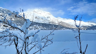 природа, зима, снег, горы