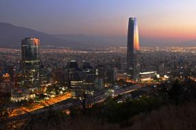 города, сантьяго , Чили, вечерний, город, сантьяго