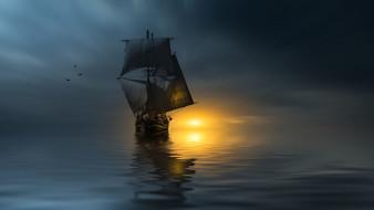 корабли, парусники, птицы, корабль, photographer, паруса, океан, christian, wig, закат
