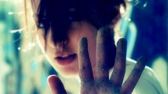 девушки, -unsort , креатив, лицо, песок, рука