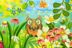 векторная графика, животные , animals, цветы, сова