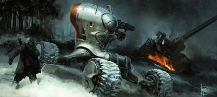 мир, иной, будущее, солдат, зима, техника, военная