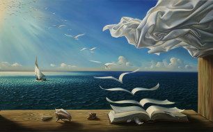 фэнтези, другое, книжка, птицы, сказки, страницы, полёт, море