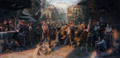 фэнтези, существа, люди, эльфы, фон, меч, улица