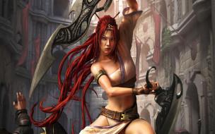 фэнтези, девушки, воинственная, драка, мечи, амазонка, девушка