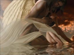 фэнтези, ангелы, облака, страсть, крылья, вода, ангел, девушка, мужчина, пара