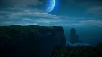 фэнтези, иные миры,  иные времена, скалы, море, костер, палатка, ночь, луна