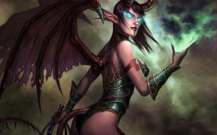 фэнтези, демоны, демонесса, крылья, хвост, кнут
