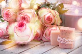 цветы, розы, свечи, букет