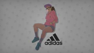 бренды, adidas, девушка, взгляд, фон, логотип