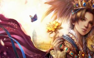 фэнтези, люди, парень, цветок, башня, бабочка, корона, драгоценности, плащ