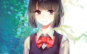 kuzu no honkai, аниме, девушка, взгляд, фон