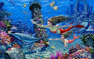 фэнтези, русалки, русалка, рыбы, дельфин, дочь, развалины, дно