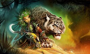фэнтези, существа, леопард, охотница, lini, шаманка, лес, alexandru, арт