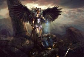 фэнтези, ангелы, душа, ангел, крылья, воин, поле, битвы