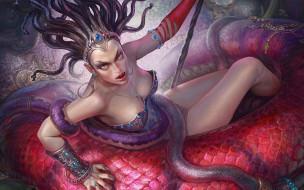 фэнтези, существа, горгона, зло, медуза, змея, демон