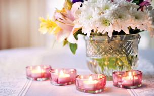 разное, свечи, огоньки, букет, хризантемы, сердечки