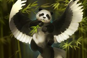 рисованное, животные,  сказочные,  мифические, бамбук, панда, art, gaudibuendia, фентези, александра, хитрова, крылья, арт