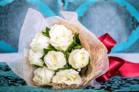 цветы, розы, упаковка, лента, букет