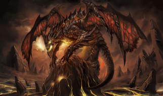 фэнтези, драконы, монстр, дракон, пламя, пасть, крылья, чудище