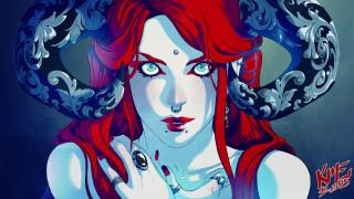 фэнтези, демоны, узоры, рога, демоница, кольцо, арт, пирсинг, фантастика, взгляд
