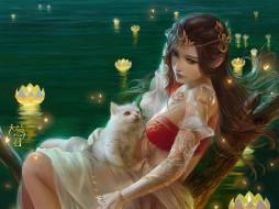 фэнтези, девушки, девушка, котенок, озеро, лотос