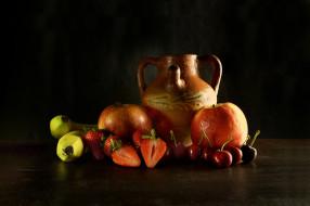 обои для рабочего стола 2048x1365 еда, натюрморт, фрукты, кувшин