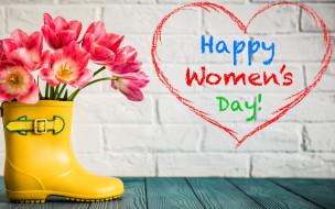 праздничные, международный женский день - 8 марта, heart, love, gift, розовые, тюльпаны, 8, марта, pink, romantic, tulips, цветы