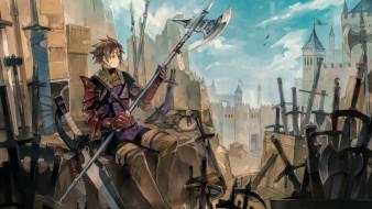 аниме, chain chronicle,  haecceitas no hikari, axe, game, anime, weapon, chain, chronicle, haecceitas, no, hikari