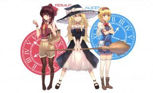 аниме, touhou, фон, взгляд, девушки