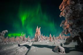 природа, северное сияние, северное, сияние, ночь, лес, небо, сугробы, снег, звёзды, зима, дорога, деревья