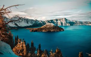 природа, реки, озера, озеро, крейтер, национальный, парк, в, орегоне, сша