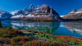природа, горы, снег, озеро