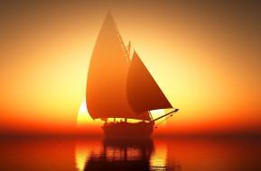 море, парусник, закат
