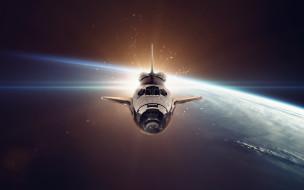 галактика, вселенная, космический корабль, полет