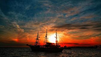 корабли, парусники, корабль, в, лучах, закатного, солнца