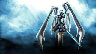 фэнтези, роботы,  киборги,  механизмы, девушка, фон, униформа, меч