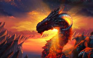 фэнтези, драконы, лучи, голова, рога, чешуя, сияние, дракон, скалы, рассвет