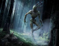 фэнтези, существа, свет, арт, трава, деревья, лягушка, чудовище, фантастика, лес, существо