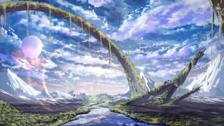 фэнтези, пейзажи, небо, река, by, smile, горы, природа, воздушный, шар