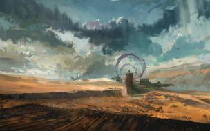 фэнтези, иные миры,  иные времена, арт, врата, ворота, человек, небо, фантастика, облака, пустыня, пейзаж