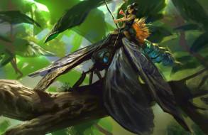 фэнтези, существа, листья, ветка, лес, наездник, насекомое, арт, фея