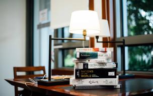 разное, канцелярия,  книги, книги, лампа