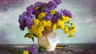 цветы, букеты,  композиции, одуванчики, сирень