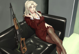 аниме, black lagoon, balalaika-azasuke, sniper, anime, manga, girl, scar, woman, japanese, asian, black, lagoon, dragunov